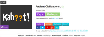 FREE Ancient Civilizations Kahoot Review Game English and Spanish Questions