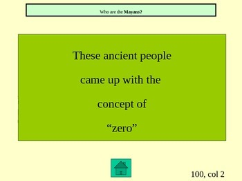 Ancient Civilizations Maya, Inca, and Aztec Jeopardy Game