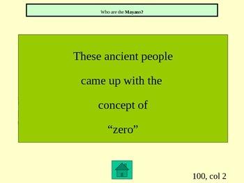 Ancient Civilizations Maya, Inca, and Aztec Jeopardy Game