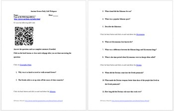 Ancient Civilizations Of the World Webquest and Worksheet Collection