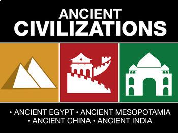 Ancient Civilizations - Unit Bundle  4 PowerPoints, Outlines and 2 Video Guides