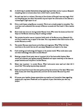 Ancient Civilizations Projects: Rome Grades 5,6,7,8