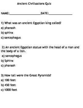 Ancient Civilizations Quiz 1