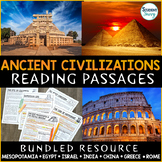Ancient Civilizations Reading Comprehension Passages - Questions Bundle