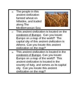 Ancient Civilizations Scoot - Third Grade SOL Review