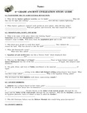 Ancient Civilizations Study Guide & Key - 6th grade