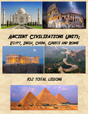 Ancient Civilizations Units for Ancient Egypt, India, China, Greece, Rome