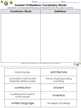 Ancient Civilizations: Vocabulary Words Cut and Paste Activity - Egypt and China