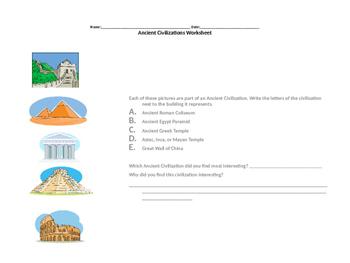 Ancient Civilizations Worksheet