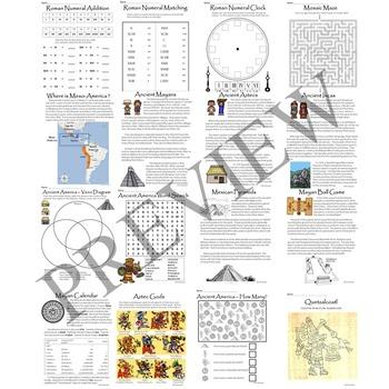 Ancient Civilizations and History Activity Packet Bundle
