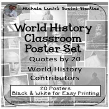 Ancient & Early World History Quotes Posters Bulletin Board Wall Decor Set