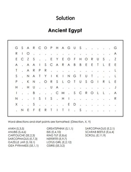 Ancient Egypt Word Search Activity/ Foldable: King Tut, Sphinx, etc.