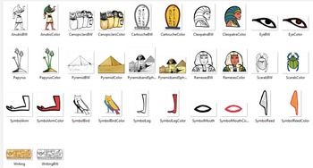Ancient Egypt Objects 30 pc. Clip-Art  (BW and Color!) 15 BW/ 15 Color!