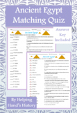 Ancient Egypt Activity Matching with Answer Key