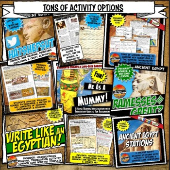 Ancient Egypt Complete Unit Plan Lesson & Activity Bundle Common Core 5-8