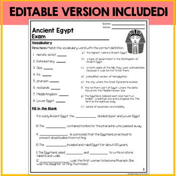 Ancient Egypt Assessment Exam