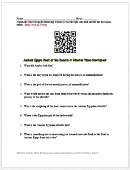Ancient Egypt: Book of the Dead in 4 Minutes Video Worksheet