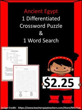 Ancient Egypt Bundle-1 Crossword & 1 Word Search