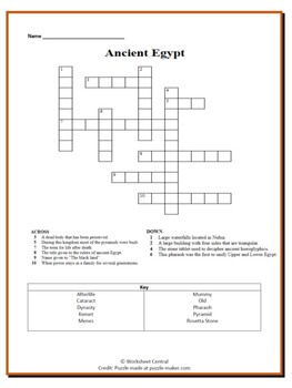 Ancient Egypt Bundle-1 Crossword Puzzle & 1 Word Search by ...