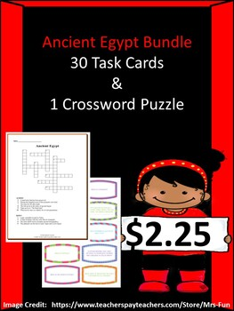 Ancient Egypt Bundle-30 Task Cards & 1 Crossword Puzzle
