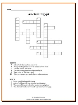 Ancient Egypt Bundle-30 Task Cards, 1 Word Search, 1 Word Scramble, 1 Crossword