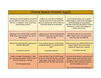 Ancient Egypt Choice Board