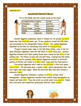 Ancient Egypt Cloze Activity with Answer Key