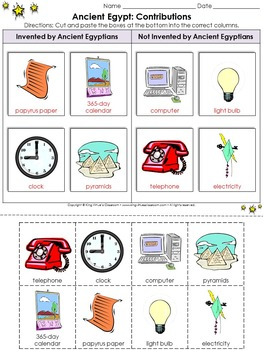 Ancient Egypt: Contributions Cut and Paste Activity - Inventions - King Virtue