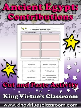 Ancient Egypt: Contributions Cut and Paste Activity - King Virtue's Classroom