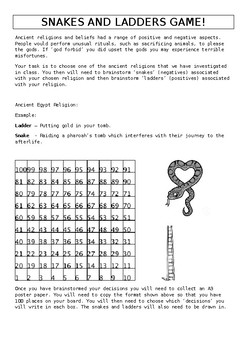 Ancient Egypt: Create a Snakes and Ladders Game