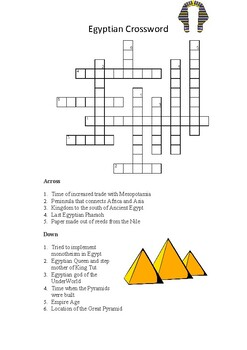 Ancient Egypt Crossword by Anthony Cortez | Teachers Pay ...