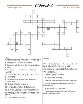 Ancient Egypt Crossword Puzzle by Traveling Teacher | TpT