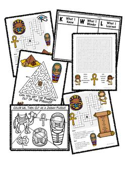 Ancient Egypt - Crossword, word search, maze, jigsaw puzzle & KWL Chart