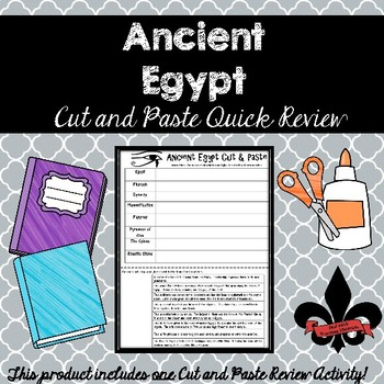Ancient Egypt Cut and Paste Review--NO PREP