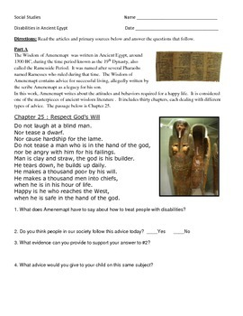 Ancient Egypt DBQ - Disability in Egypt