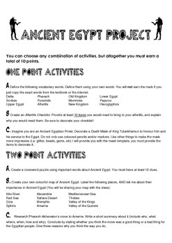 Ancient Egypt Differentiated Assignment Summative Assessment