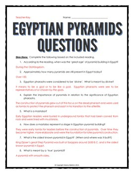 Ancient Egypt - Egypt's Pyramids - Reading, Organizer, Map, Questions, Key