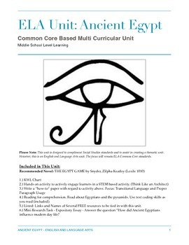 Ancient Egypt: English and Language Arts Cross Curricular Unit