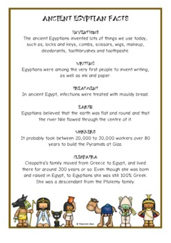 Ancient Egypt Fact Cards