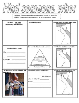 "Ancient Egypt ""Find Someone Who..."" activity"