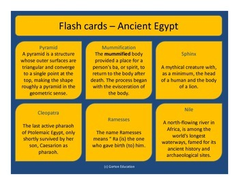 Ancient Egypt - Flash cards