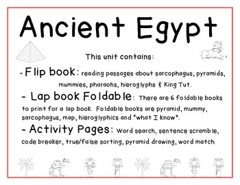 Ancient Egypt Flipbook , Lap Book Foldables  and Activities