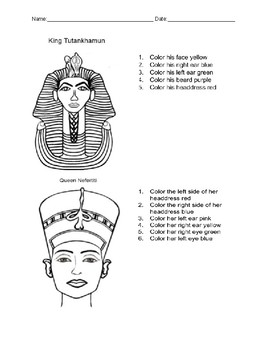 Ancient Egypt Following Directions Activity