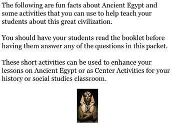 Ancient Egypt: Fun Facts and Activities