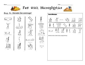 Ancient Egypt: Fun with Hieroglyphics Worksheet