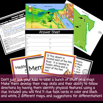 Ancient Egypt Geography Scavenger Hunt and Task Cards