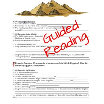 Ancient Egypt-Harcourt-Guided Reading, Vocabulary, Quiz, and Test
