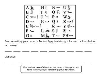 Ancient Egypt - Hieroglyphics Project