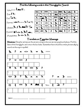 Ancient Egypt Hieroglyphics Write Your Name and Word Search