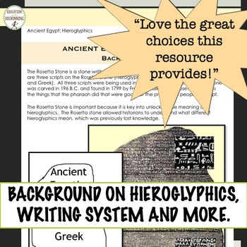 Ancient Egypt Hieroglyphics and the Rosetta Stone Activities